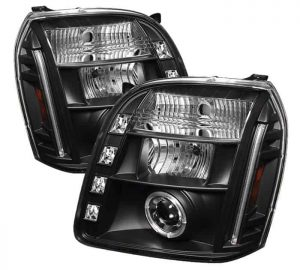 2007-2014 GMC Yukon, Denali, XL Halo LED Projector Headlights (Replaceable LEDs) - Black