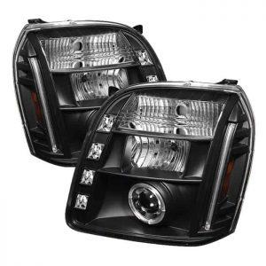 2007-2014 GMC Yukon, Denali, XL Halo LED Projector Headlights (Replaceable LEDs) - Black