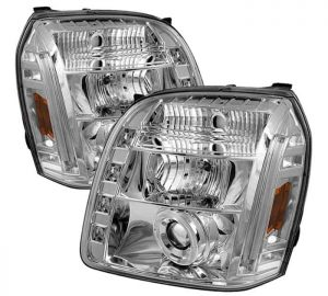 2007-2014 GMC Yukon, Denali, XL Halo LED Projector Headlights (Replaceable LEDs) - Chrome