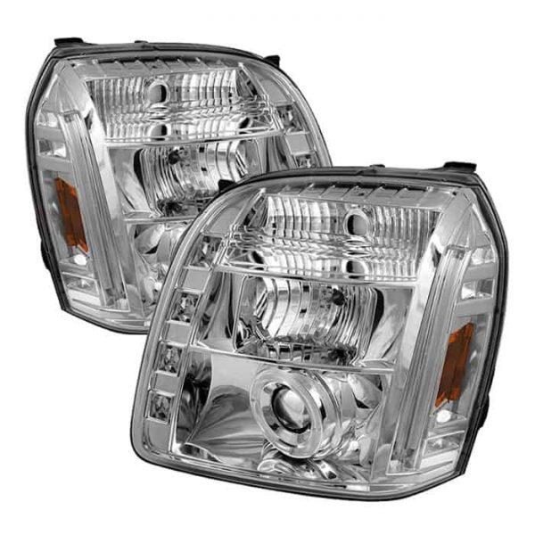 2007-2014 GMC Yukon, Denali, XL Halo LED Projector Headlights (Replaceable LEDs) - Chrome
