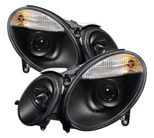 2003-2006 Mercedes Benz W211 E-Class (non HID) Projector Headlights - Black