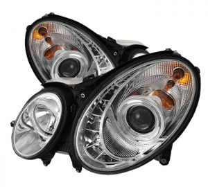 2003-2006 Mercedes Benz W211 E-Class (non HID) DRL LED Projector Headlights - Chrome