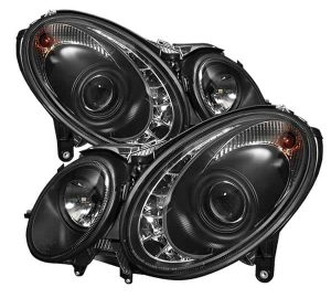 2003-2006 Mercedes Benz W211 E-Class (HID Type) DRL LED Projector Headlights - Black