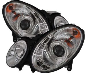 2003-2006 Mercedes Benz W211 E-Class (HID Type) DRL LED Projector Headlights - Chrome