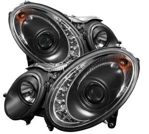 2007-2009 Mercedes Benz W211 E-Class DRL LED Projector Headlights - Black