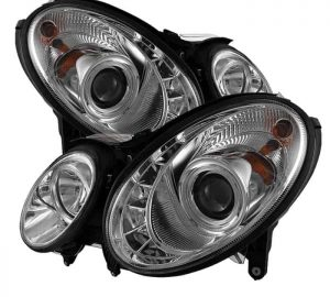 2007-2009 Mercedes Benz W211 E-Class DRL LED Projector Headlights - Chrome