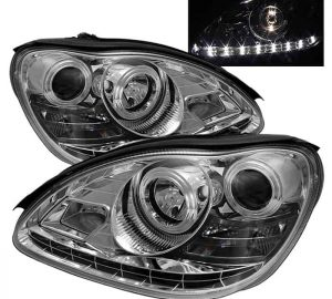2000-2006 Mercedes Benz W220 S-Class DRL LED Projector Headlights - Chrome