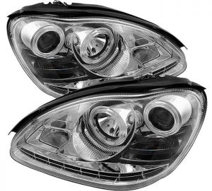 2003-2006 Mercedes Benz W220 S-Class (HID type) DRL LED Projector Headlights - Chrome