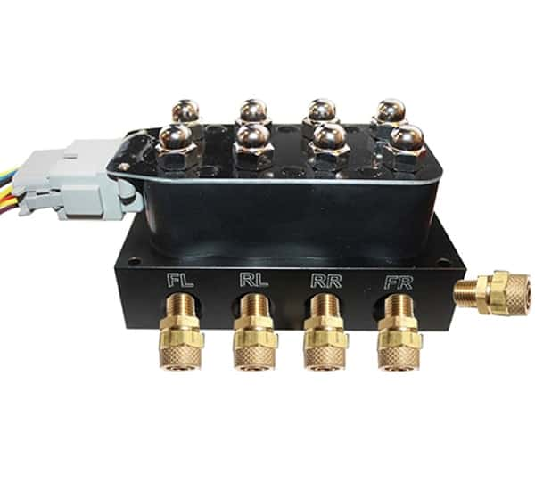 ACCUAIR Clone Single 4 Corner, 8 Way Valve Block embly on