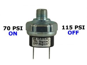 "70psi-ON & 115psi-OFF Air Pressure Switch - 1/4"" NPT"