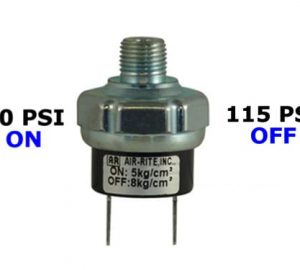 """70psi-ON & 115psi-OFF Air Pressure Switch - 1/4"""" NPT"""