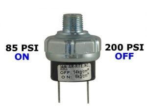 "85psi-ON & 200psi-OFF Air Pressure Switch - 1/4"" NPT"