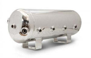 "5 Gallon, 8 Port Polished Stainless Steel Air Tank (29"" X 8.4"")"