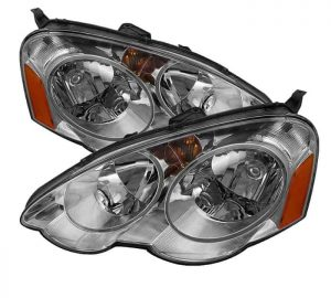 2002-2004 Acura RSX Amber Crystal Headlights - Chrome