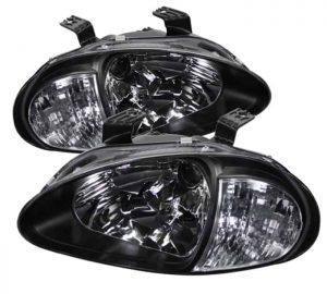 93-97 Honda Del Sol 1PC Crystal Headlights - Black