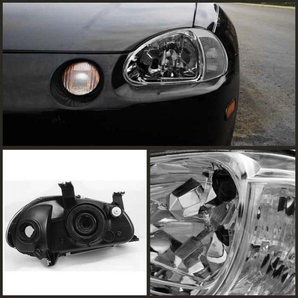 93-97 Honda Del Sol 1PC Crystal Headlights - Chrome