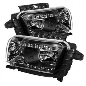 2010-2013 Chevy Camaro DRL LED Crystal Headlights - Black
