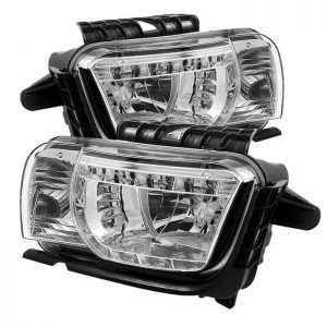 2010-2013 Chevy Camaro DRL LED Crystal Headlights - Chrome