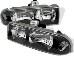 1998-2002 Chevy S-10 Crystal Headlights - Black