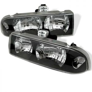 1998-2002 Chevy S-10 Crystal Headlights - Black