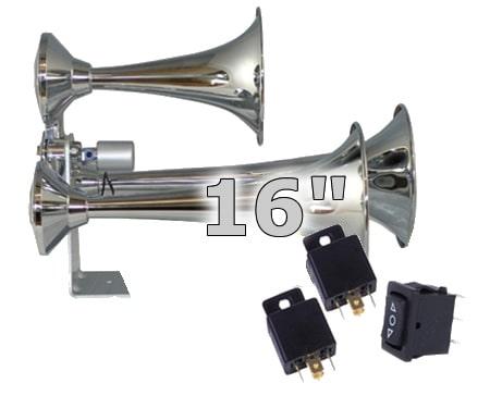 """16"""" Triple Train Air Horn With Valve - 150db"""