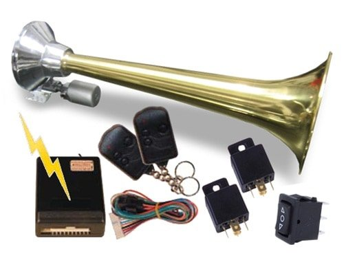 "17"" Single Bellow Brass Train, Truck, Or Boat Air Horn With Valve - 170db"