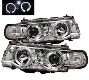 1999-2001 BMW E38 7-Series HID TYPE 1PC Halo Projector Headlights - Chrome