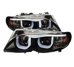 2002-2005 BMW E46 3-Series 4DR 1PC 3D Halo DRL Projector Headlights - Black