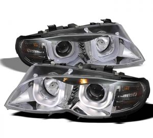 2002-2005 BMW E46 3-Series 4DR 1PC 3D Halo DRL Projector Headlights - Chrome