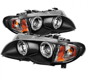 2002-2005 BMW E46 3-Series 4DR 1PC Halo Projector Headlights - Black