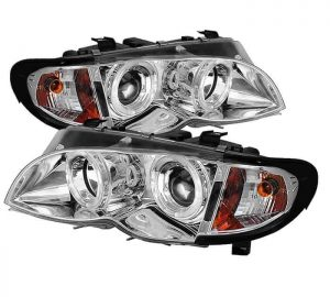 2002-2005 BMW E46 3-Series 4DR 1PC Halo Projector Headlights - Chrome