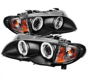 2002-2005 BMW E46 3-Series 4DR 1PC CCFL Projector Headlights - Black