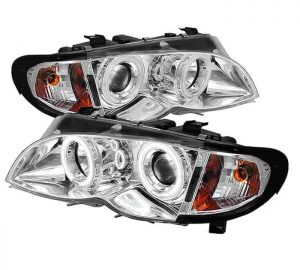 2002-2005 BMW E46 3-Series 4DR 1PC CCFL Projector Headlights - Chrome