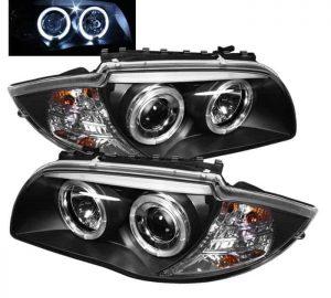 2008-2011 BMW E87 1-Series Halo Projector Headlights - Black