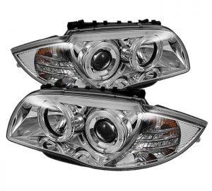 2008-2011 BMW E87 1-Series Halo Projector Headlights - Chrome