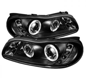 1997-2003 Chevy Malibu Halo LED Projector Headlights (Replaceable LED's) - Black