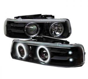 1999-2002 Chevy Silverado, Suburban, Tahoe CCFL LED Projector Headlights - Black