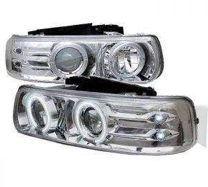 1999-2002 Chevy Silverado, Suburban, Tahoe CCFL LED Projector Headlights - Chrome