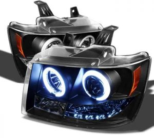 2007-2013 Chevrolet Avalanche, Tahoe, Suburban CCFL LED Projector Headlights (Replaceable LEDs) - Black