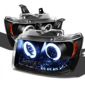 2007-2013 Chevrolet Avalanche, Tahoe, Suburban CCFL LED Projector Headlights (Replaceable LEDs) - Black