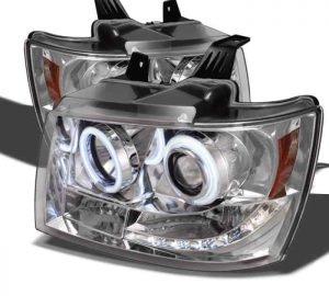 2007-2013 Chevrolet Avalanche, Tahoe, Suburban CCFL LED Projector Headlights (Replaceable LEDs) - Chrome