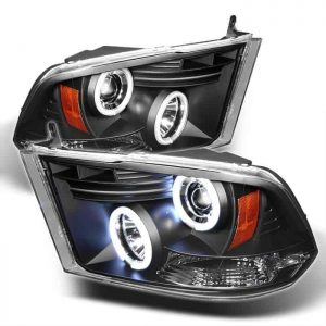 2009-2014 Dodge Ram 1500, 2500, 3500 CCFL LED Projector Headlights (Halogen Model Only - Not Compatible with Factory Projector or LED DRL) - Black