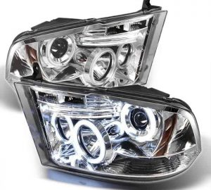 2009-2014 Dodge Ram 1500, 2500, 3500 CCFL LED Projector Headlights (Halogen Model Only - Not Compatible with Factory Projector or LED DRL) - Chrome