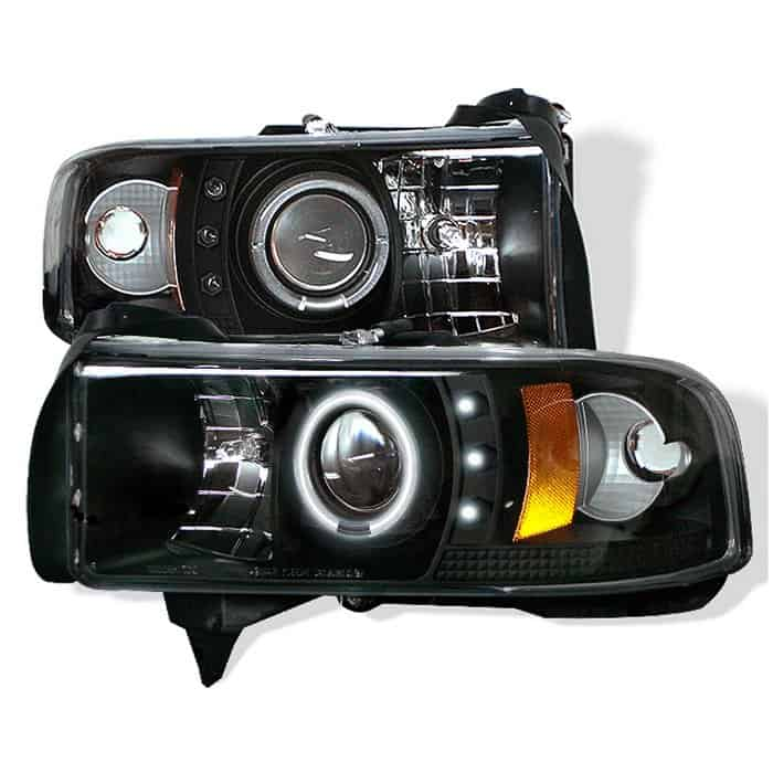 1994-2001 Dodge Ram 1500, 2500, 3500 CCFL Halo LED Projector Headlights (Does Not Fit Sports Model) (Replaceable LEDs) - Black