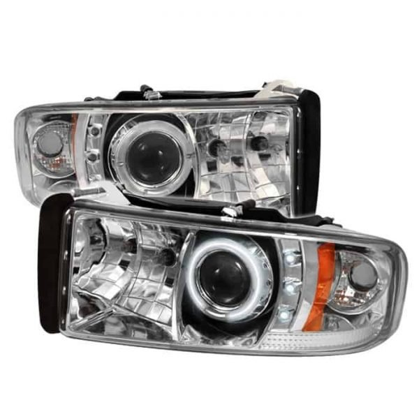 1994-2001 Dodge Ram 1500, 2500, 3500 CCFL Halo LED Projector Headlights (Does Not Fit Sports Model) (Replaceable LED's) - Chrome