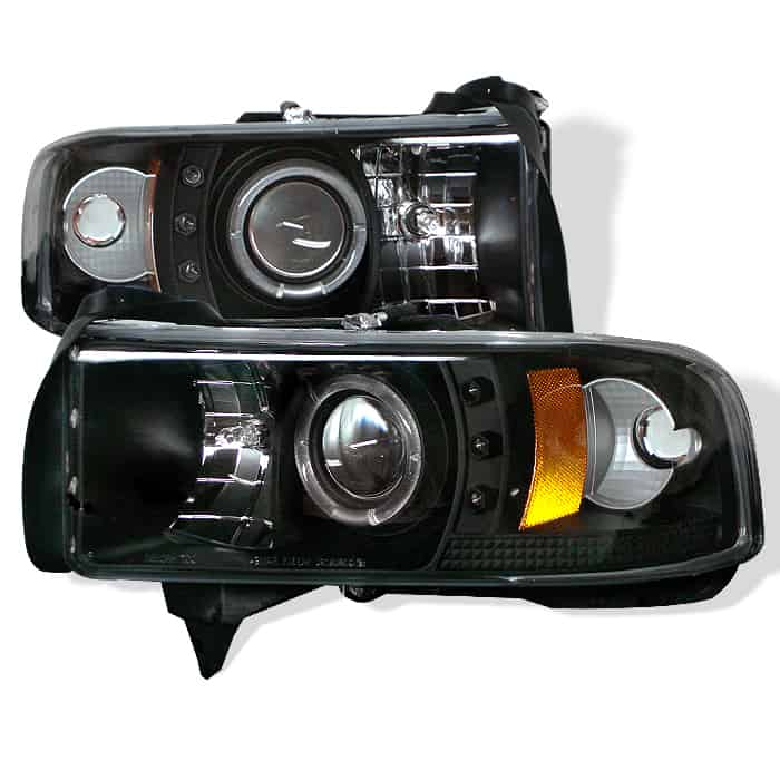 1994-2001 Dodge Ram 1500, 2500, 3500 Halo LED Projector Headlights (Does Not Fit Sports Model) (Replaceable LEDs) - Black