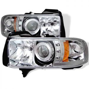 1994-2001 Dodge Ram 1500, 2500, 3500 Halo LED Projector Headlights (Does Not Fit Sports Model) (Replaceable LED's) - Chrome