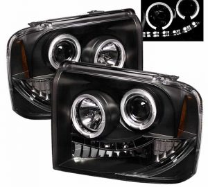 2005-2007 Ford F250/350/450 Super Duty HALO LED Projector Headlights (Replaceable LEDs) - Black