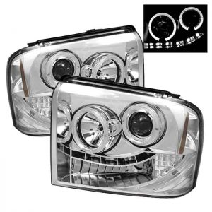 2005-2007 Ford F250/350/450 Super Duty HALO LED Projector Headlights (Replaceable LEDs) - Chrome