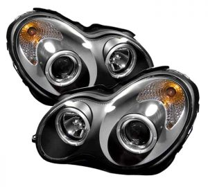 2001-2005 Mercedes Benz W203 C-Class Halo Projector Headlights (4 Door Only) - Black